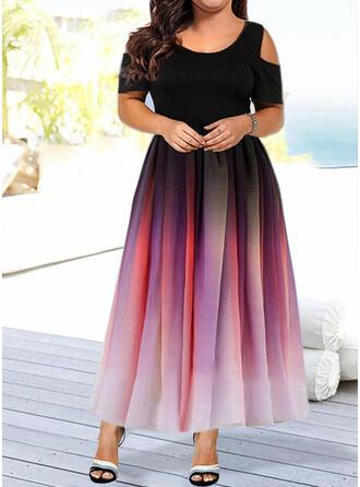 Nadrukowana Krótkie rękawy/Odkryte ramię W kształcie litery A Casual/Elegancki Maxi Sukienki