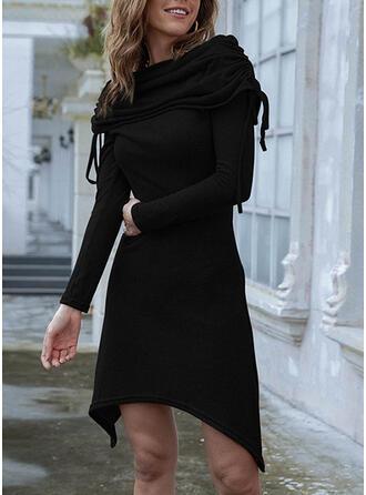Jednolity Długie rękawy Sukienka Trapezowa Długośc do kolan Mała czarna/Nieformalny Łyżwiaż Sukienki
