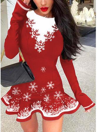 Boże Narodzenie Nadruk/Blok Koloru Długie rękawy Sukienka Trapezowa Nad kolana Elegancki Łyżwiaż Sukienki