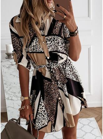 lampart Długie rękawy W kształcie litery A Nad kolana Casual Koszula/Łyżwiaż Sukienki