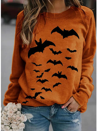 Zwierze Halloween Okrągły Dekolt Długie rękawy Bluza