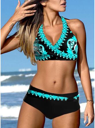 Trójkątny Nadruk Wiązany na szyi Dekolt w kształcie litery V Seksowny Wzrok Bikini Stroje kąpielowe