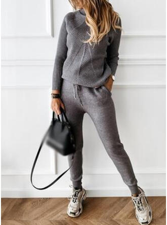 Solid Casual Sporty Suits
