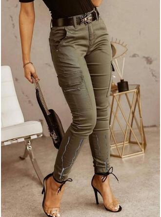 Jednolity Długo Nieformalny Zabytkowe Duży rozmiar Pocket shirred Spodnie