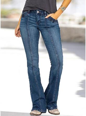Niejednolita całość Kieszenie Marszczona Duży rozmiar Długo Elegancki Seksowny Dżinsy