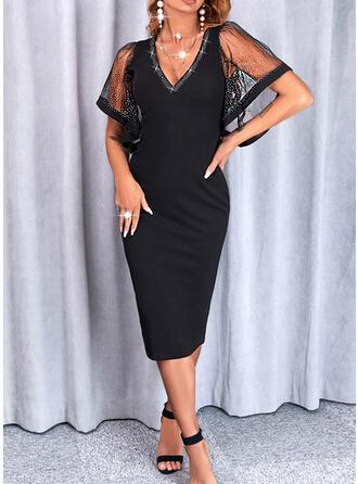 Jednolity Krótkie rękawy Rękawisko Bodycon Długośc do kolan Mała czarna/Elegancki Ołówkowa Sukienki