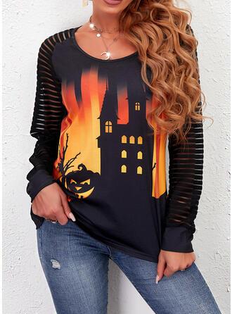 Halloween Nadruk Okrągły dekolt Długie rękawy Raglan Sleeve Nieformalny Bluzki