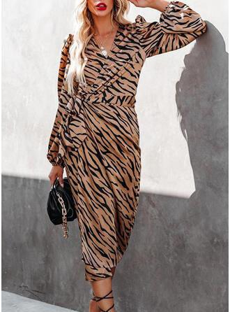 Nadruk Długie rękawy Pokrowiec Okrycie Nieformalny Midi Sukienki
