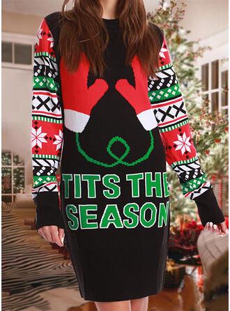 Damskie Nadruk Blok Koloru Wytłaczany Brzydki świąteczny sweter