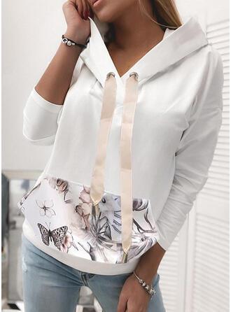Nadruk Kwiatowy butterfly Długie rękawy Bluza z kapturem