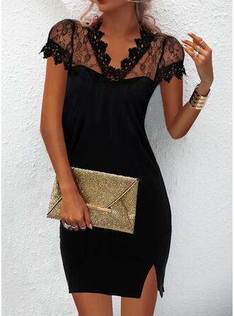 Jednolity Koronka Krótkie rękawy cap sleeve Bodycon Nad kolana Mała czarna/Elegancki Sukienki