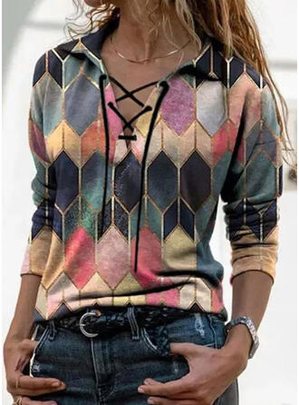 Color Block Lapel Long Sleeves Casual Blouses