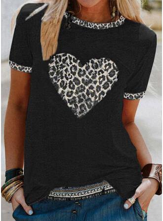 lampart Serce Nadruk Okrągły dekolt Krótkie rękawy T-shirty