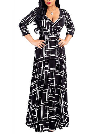Plus Size Print 3/4 Sleeves A-line Maxi Casual Elegant Dress