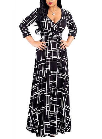 Duży rozmiar Nadruk Rękawy 3/4 Sukienka Trapezowa Maxi Nieformalny Elegancki Sukienka