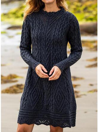 Jednolita Długie rękawy Koktajlowa Długośc do kolan Casual Sweter Sukienki
