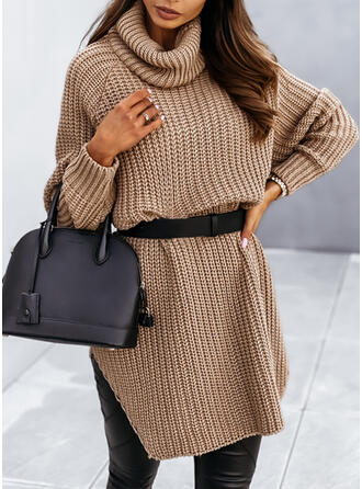 Jednolity Dzianina Długie rękawy Raglan Sleeve Suknie shift Nad kolana Nieformalny Sweter Sukienki