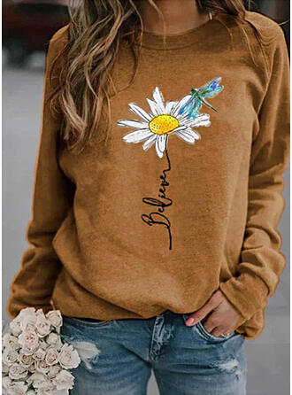 Floral Animal Print Round Neck Long Sleeves Casual T-shirts