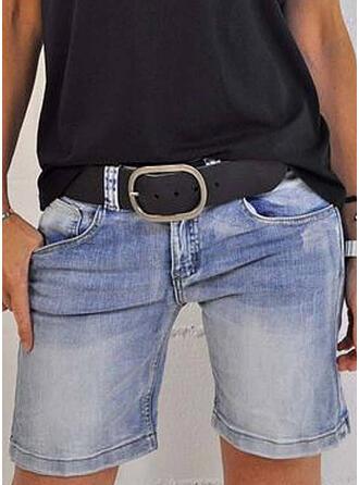 Dżinsowa Nad kolanem Nieformalny Zabytkowe Pocket Spodnie Szorty Dżinsy