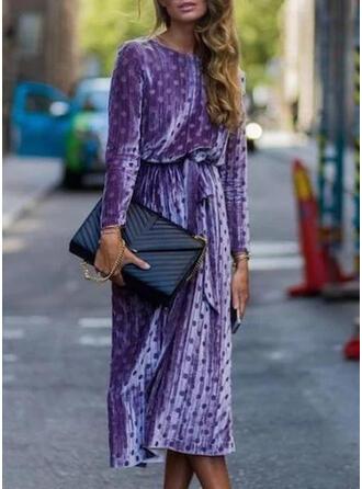 Groszki Długie rękawy Pokrowiec Casual/Elegancki Midi Sukienki