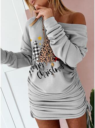 Nadrukowana/lampart Długie rękawy Bodycon Nad kolana Boże Narodzenie/Casual Bluza Sukienki