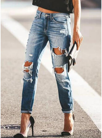 Pockets Shirred Long Casual Sexy Skinny Plain Denim & Jeans