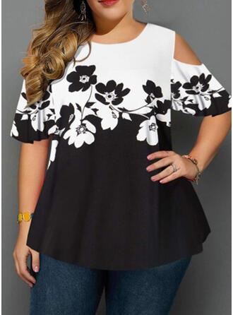 Print Floral Cold Shoulder Short Sleeves Casual Plus Size Blouses