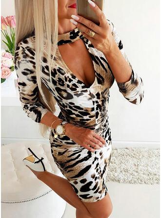 lampart Długie rękawy Bodycon Nad kolana Casual/Elegancki Sukienki