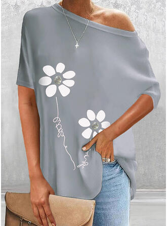 Print Floral Figure Round Neck Short Sleeves Casual Blouses