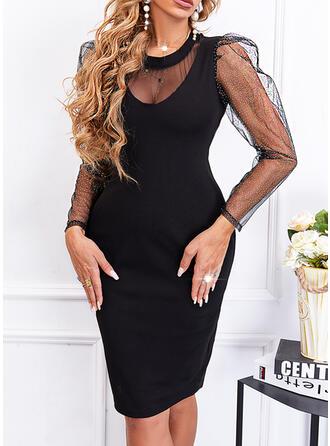 Jednolity cekiny Długie rękawy shim sleeve Pokrowiec Nad kolana Mała czarna/Elegancki Sukienki