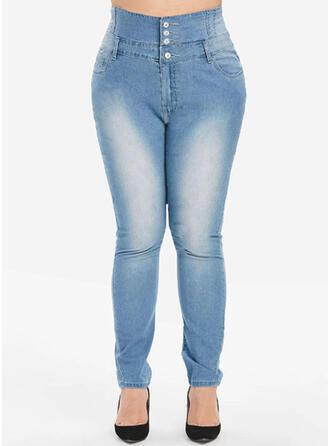 Kieszenie Duży rozmiar Frędzle Długo Elegancki Seksowny Dżinsy