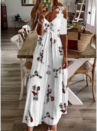Nadruk/Kwiatowy Koronka Rękawy 1/2 cold ramion rękaw Sukienka Trapezowa Łyżwiaż Nieformalny Maxi Sukienki