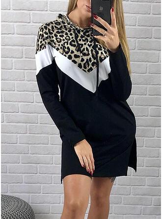 Wyszczuplająca/lampart Długie rękawy Koktajlowa Nad kolana Casual Bluza Sukienki