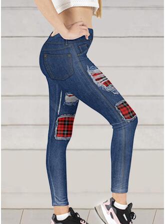 Patchwork Plaid Sexy Tribal Denim & Jeans