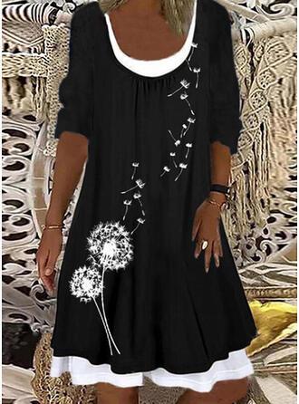 Nadruk Długie rękawy Suknie shift Długośc do kolan Nieformalny/Wakacyjna Tunika Sukienki