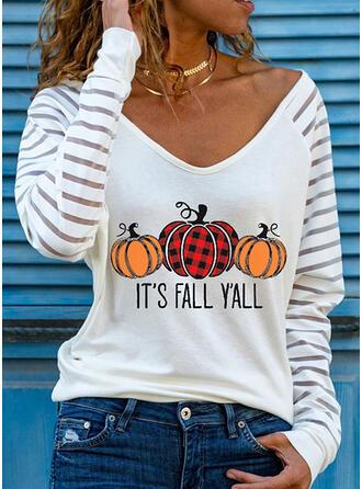 Halloween W kratę Nadruk Wytłaczany Dekolt w kształcie litery V Długie rękawy T-shirty