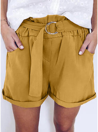 Pockets Shirred Plus Size Above Knee Casual Shorts