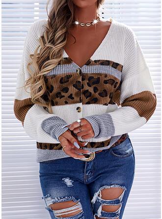Blok Koloru lampart Dekolt w kształcie litery V Nieformalny Swetry