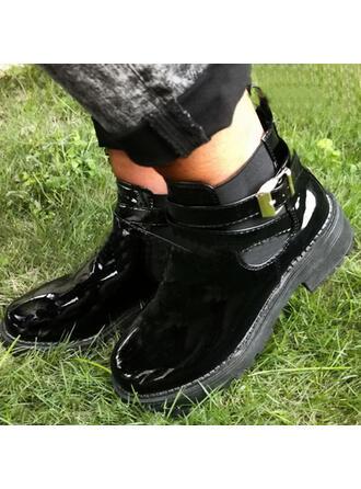 Dla kobiet PU Obcas Slupek Botki Round Toe Z Klamra Jednolity kolor obuwie