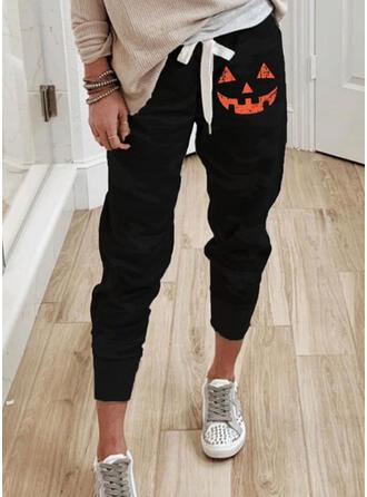 Halloween Nadruk Przycięte Nieformalny sportieve drawstring Spodnie
