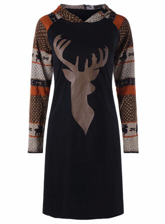 Nadruk zwierzęcy Długie rękawy Pokrowiec Długośc do kolan Boże Narodzenie/Casual Sukienki