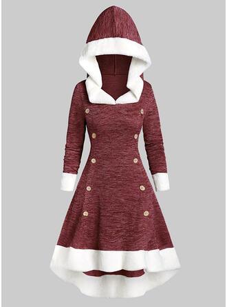 Wyszczuplająca Długie rękawy W kształcie litery A Łyżwiaż Boże Narodzenie/Casual Midi Sukienki