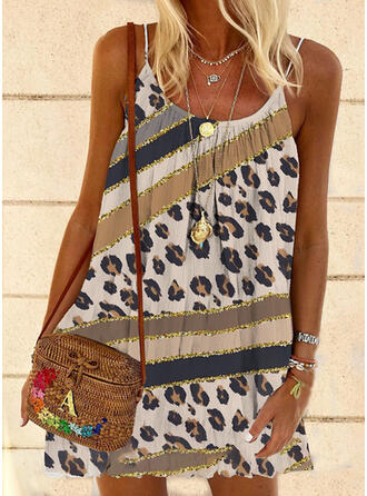 Print/Leopard Sleeveless Shift Above Knee Casual/Vacation Slip Dresses
