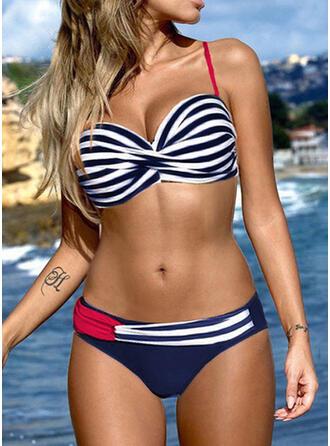 Stripe Splice color V-Neck Sexy Fresh Bikinis Swimsuits