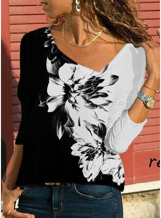 Blok Koloru Kwiatowy Nadruk Dekolt w kształcie litery V Długie rękawy T-shirty