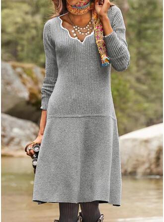 Jednolity Dzianina Długie rękawy Pokrowiec Sweter Nieformalny Midi Sukienki