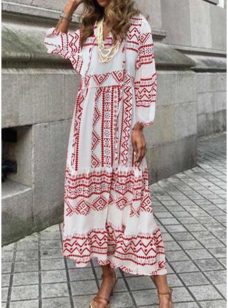 Nadruk Rękawy 3/4 shim sleeve Suknie shift Nieformalny Maxi Sukienki