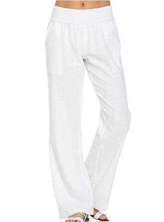 Pockets Shirred Long Casual Elegant Solid Plain Pants