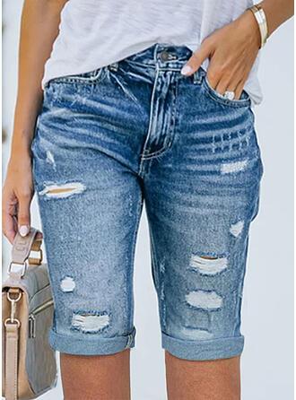 Jednolity Dżinsowa Nad kolanem Seksowny Duży rozmiar Pocket Ripped Szorty Dżinsy