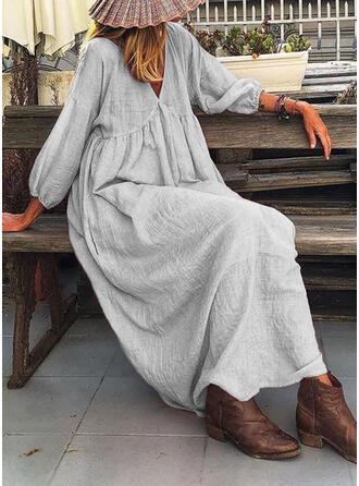 Jednolita Długie rękawy Koktajlowa Casual/Wakacyjna Maxi Sukienki